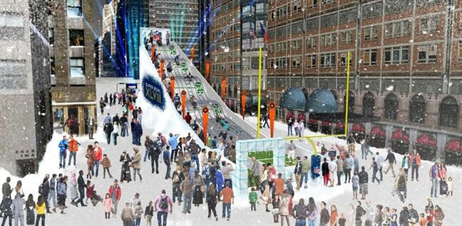 FILE - In this undated artist's rendering provided by the National Football League, a proposed toboggan slide is set up in Times Square in New York. A stretch of Broadway from 34th Street to 48th will be closed to traffic, renamed