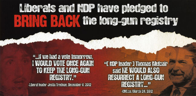 The Conservative Party of Canada's candidate in the Brandon-Souris byelection on Nov. 25 is Larry Maguire. The former MLA for Arthur-Virden has just issued this glossy postcard in an attempt to both extol the virtues of his party's dismantling of the long-gun registry and to accuse two other parties of wanting to bring it back if they got into power. However, Sun managing editor James O'Connor points out several mistakes and intentionally misleading statements in the postcard.