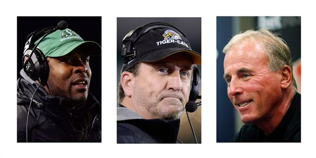 Saskatchewan Roughriders coach Corey Chamblin (left to right), Hamilton Tiger-Cats coach Kent Austin and Calgary Stampeders coach John Hufnagel are shown in recent file photos. The three have been nominated for the 2013 CFL coach of the year award. THE CANADIAN PRESS/CP