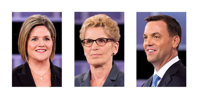Ontario political party leaders (left to right) Andrea Horwath, Kathleen Wynne and Tim Hudak are shown in June 3, 2014 file photo.Uninspiring choices at the ballot box, negative campaigns and unprecedented involvement from organized labour have political observers worried that the upcoming Ontario election will be marred by yet another disappointing voter turnout. THE CANADIAN PRESS/Nathan Denette