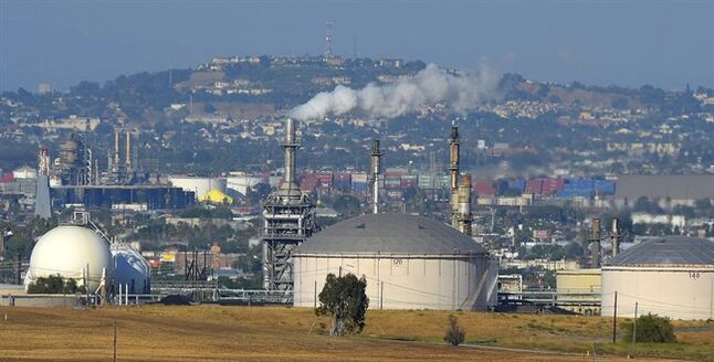 The Phillips 66 refinery in the Wilmington area of Los Angeles is pictured on July 16, 2014. THE CANADIAN PRESS/AP, Mark J. Terrill