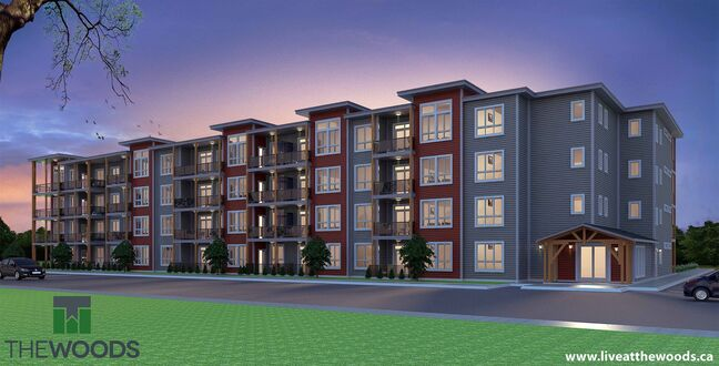 An artist's rendering of a four-storey apartment building to be included in The Woods subdivision. The Woods, a proposed subdivision, includes plans for 198 residental units.