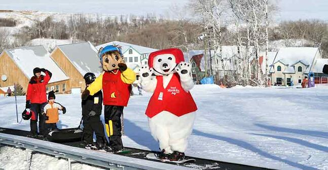 Ollie, Asessippi's favourite porcupine, and Toba, Travel Manitoba's polar bear, ride the snow carpet up to the top.