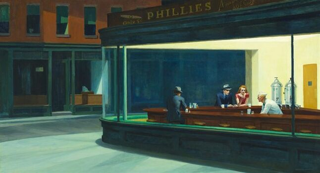 "This image provided by the Art Institute of Chicago shows Edward Hopper's ""Nighthawks."" The iconic painting is one of 58 works of art chosen by the public to appear on billboards and signs in cities across the U.S. later this summer. The works, which range from a John Singer Sargent portrait of a child to Andy Warhol's painting of a Campbell's Soup can, will begin appearing Aug. 4 in as many as 50,000 displays in all 50 states as part of the ""Art Everywhere"" initiative organized by five U.S. museums. (AP Photo/Art Institute of Chicago)"