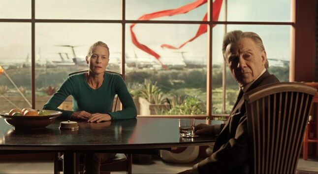 This photo released by courtesy of Drafthouse Films shows Harvey Keitel, right, as Al meeting with his client, Robin Wright (playing a version of herself) at her home in Drafthouse Films' sci-fi epic,