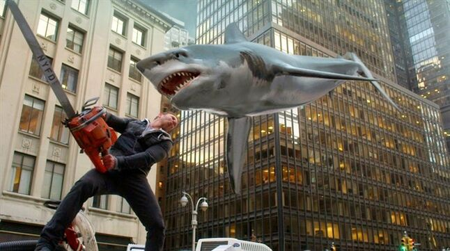 In this image released by Syfy, Ian Ziering, as Fin Shepard, battles a shark on a New York City street in a scene from