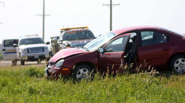 One of three cars involved in a collision on Veterans Way near Brandon on Tuesday afternoon. At least one person was taken to hospital as a result of the collision.