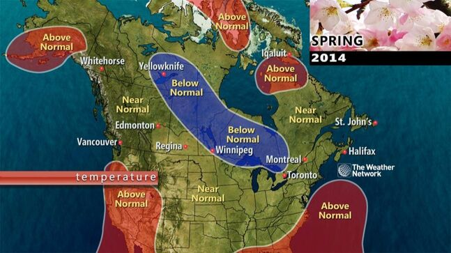Meteorologists at the Weather Network expect below-normal temperatures in most of Manitoba from March through May 2014, but they say that Westman could be spared.