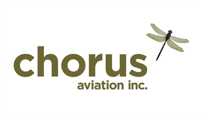The corporate logo of Chorus Aviation Inc. (TSX:CHR.B) is shown. THE CANADIAN PRESS/HO