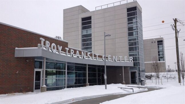 This photo from Feb. 14, 2014, shows an exterior view of the Troy Transit Center in Troy, Mich. The Detroit Free Press reported Oakland County Circuit Judge Leo Bowman on Friday, Feb. 21 dealt a fresh setback to the center, denying the city of Troy's request to be awarded immediate possession of the land under the facility. (AP Photo/Detroit Free Press, Bill Laitner) DETROIT NEWS OUT; NO SALES