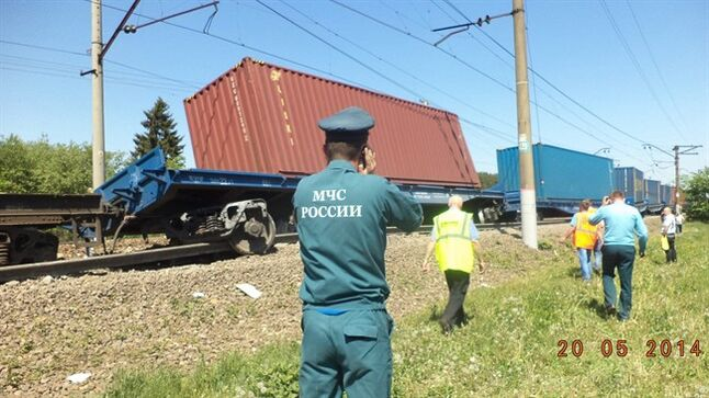 In this Tuesday, May 20, 2014 photo provided by the Russian Ministry for Emergency Situations for Moscow region, ministry employee uses a mobile phone at the site of train collision near the city of Naro-Fominsk outside Moscow. The Interior Ministry said the accident happened when several cars of a cargo train derailed and hit a passenger train near Naro-Fominsk, a town 50 kilometers (30 miles) southwest of Moscow. (AP Photo/ Ministry for Emergency Situations Press Service)