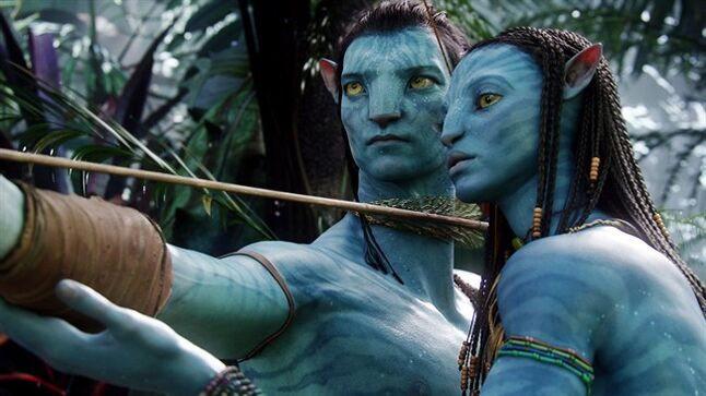 FILE - This undated file film publicity image originally released by 20th Century Fox shows the characters Neytiri, voiced by Zoe Saldana, right, and Jake, voiced by Sam Worthington, in a scene from