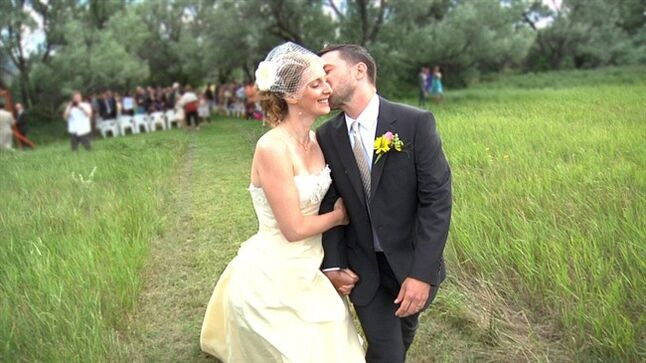 This undated image released by HBO shows Heather and Sam Dodge on their wedding day in Helena, Mont., from the documentary