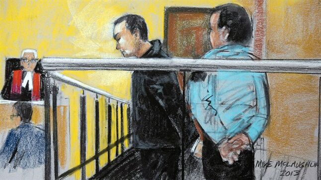 A court artist sketch shows Guy Turcotte during his appearance at the courthouse, November 14, 2013 in St. Jerome, Que. THE CANADIAN PRESS/Mike McLaughlin