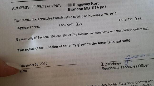 The Residential Tenancies Branch has deemed that the Kingsway Kort evictions are not valid. The Sun has partially blurred the address that was on this letter.