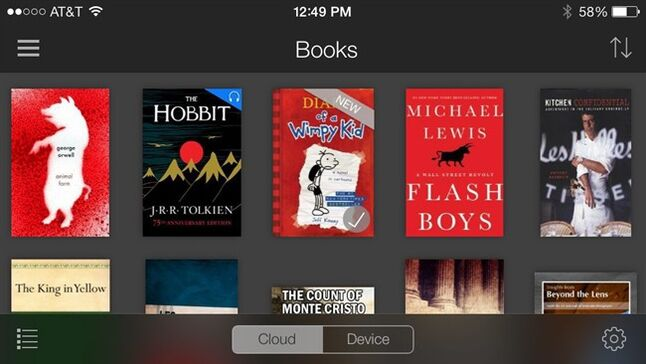 This screen shot taken from an iPhone shows five books, top row, available through Amazon's Kindle Unlimited subscription service. The service will allow unlimited access to thousands of electronic books and audiobooks for $9.99 a month in the online giant's latest effort to attract more users. (AP Photo)