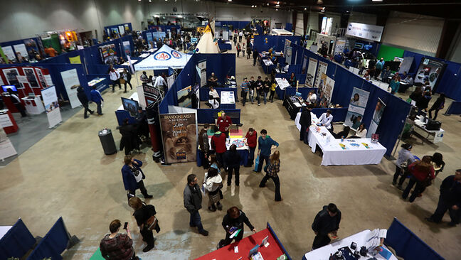 Participants at this year's Career Symposium make their way past the displays in the Manitoba Room at the Keystone Centre on Tuesday.