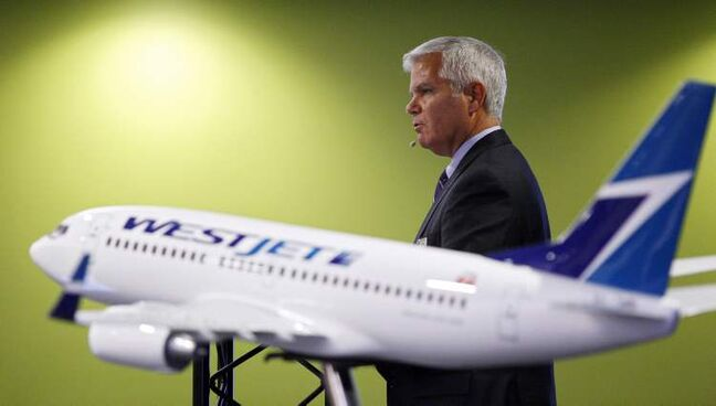 Gregg Saretsky, president and CEO of Westjet, addresses the company's annual meeting in Calgary, Tuesday, May 1, 2012.THE CANADIAN PRESS/Jeff McIntosh