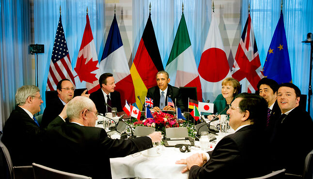 The G7 leaders met in The Hague on Monday to discuss possible responses to Russia's action in Ukraine.