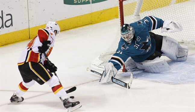 Calgary Flames' Jiri Hudler, left, scores past San Jose Sharks goalie Anti Niemi during the first period of an NHL hockey game, Monday, Jan. 20, 2014, in San Jose, Calif. (AP Photo/George Nikitin)