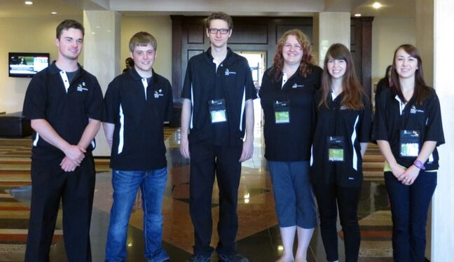 From left: Lucas Tufts, Brett McKee, Jordan Neufeld, Melodee Peters, Shawnee Holmes and Holly Campbell.