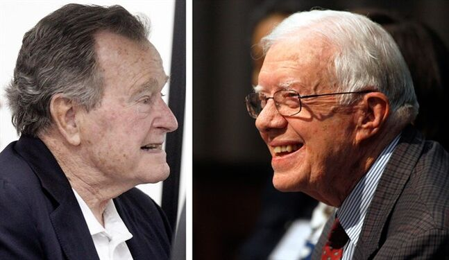 Former President George H.W. Bush, left,�is seen in this Thursday, March 27, 2014. file photo taken in College Station, Texas and ormer U.S. President Jimmy Carter is seen in a June 28, 2013 file photo taken in Atlanta Georgia. Bush celebrates his 90th birthday Thursday June 12, 2014. Carter is 89 years, 254 days. (AP Photo/FILE)