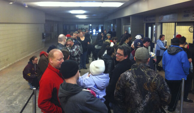 About 50 line up on Friday morning at Keystone Centre box office to snag the first Mötley Crüe tickets.