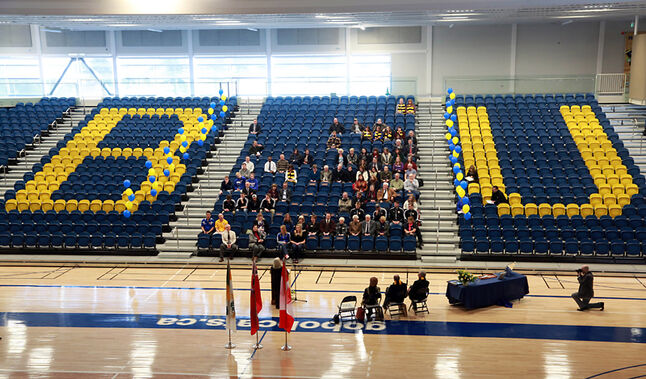Speeches and official ceremonies take place amid the university colours during the grand opening of Brandon University's Healthy Living Centre on Friday afternoon. The facility opened its doors to students and the community 13 months ago with the official event this week.