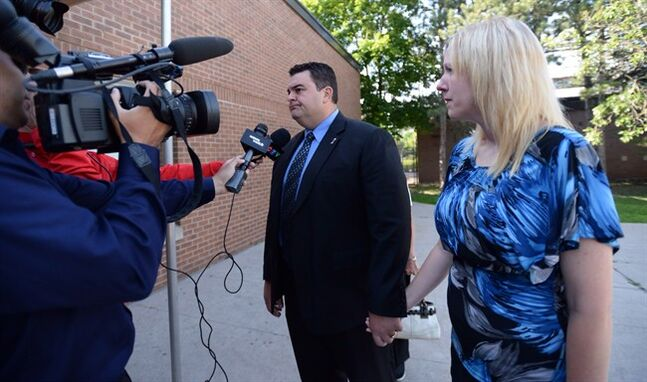 Independent MP Dean Del Mastro and his wife Kelly arrive at court in Peterborough, Ont., on June 23, 2014. Del Mastro is charged with overspending during the 2008 federal election campaign, failing to report a personal contribution of $21,000 to his own campaign and knowingly submitting a falsified document. He has denied all the allegations. He returns to the witness stand for a third day on Friday, July 11. THE CANADIAN PRESS/Sean Kilpatrick