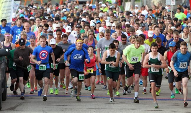 Hundreds of runners take off from the starting gate at the start of the 35th annual YMCA Spring Run, Sunday morning in Brandon. The annual event saw record registrations this year.