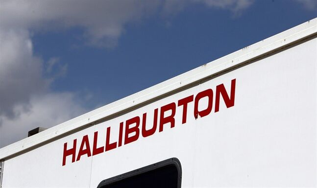 The Halliburton sign adorns the side of a machine at a site for natural-gas production in Rulison, Colo. on April 15, 2009. THE CANADIAN PRESS/AP, David Zalubowski