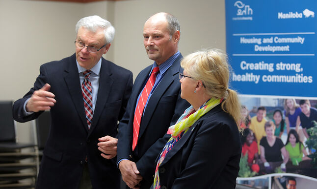 Premier Greg Selinger, left, Brandon East NDP MLA Drew Caldwell and Coun. Jan Chaboyer (Green Acres) announce a new partnership between the province and the city to create more affordable housing during a news conference at Prairie Oasis Seniors Centre on Monday.