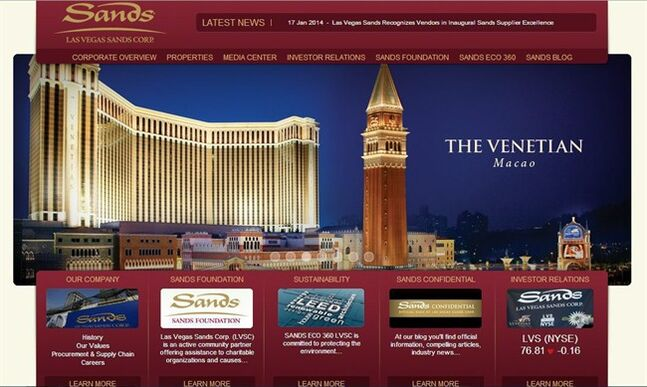 This screen shot provided by the Las Vegas Review Journal shows the Sands web site that was hacked on Monday Feb. 10, 2014. A Nevada gambling regulator said Thursday that the hackers who knocked down all Las Vegas Sands websites for two days and counting did not steal any patron data, including credit card information. Nevada Gaming Control Board chairman A.G. Burnett said regulators' first priority after the world's largest casino operator was hacked Monday was to ensure the safety of player information and the integrity of the gambling systems. (AP Photo/Las Vegas Review-Journal)