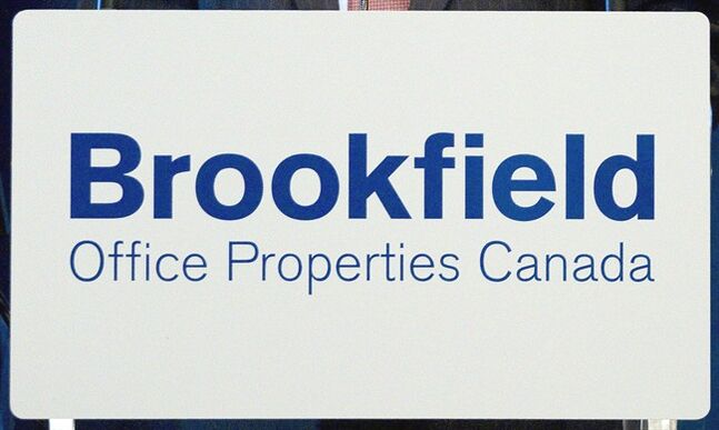 A Brookfield Office Properties sign is pictured at the company's annual meeting May 9, 2011. THE CANADIAN PRESS/Chris Young