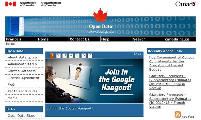 The Open Data portal from the Government of Canada is shown on March 1, 2013. THE CANADIAN PRESS/HO