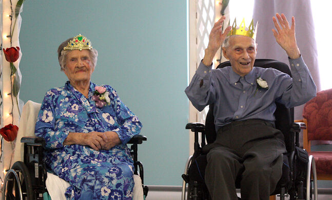 Teenie Kerr, 104, and Walter Riddell, 100, were named prom king and queen at the Birch Lodge Senior Prom yesterday. The prom celebration coincided with Hamiota's graduation day.