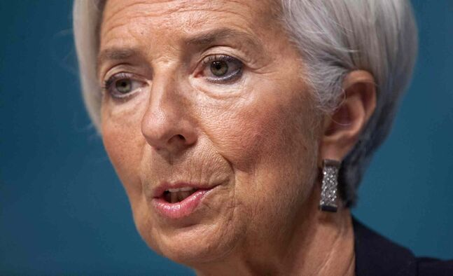 International Monetary Fund Managing Director Christine Lagarde speaks during a news conference, Monday, June 16, 2014, at IMF headquarters in Washington.