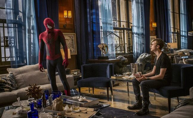This image released by Sony Pictures shows Andrew Garfield and Dane DeHaan in