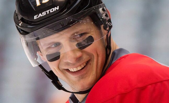 Ottawa Senators' Jason Spezza wears eye black during practice for the Heritage Classic NHL hockey game at B.C. Place stadium in Vancouver, B.C., on Saturday March 1, 2014. The Senators have traded captain Spezza to the Dallas Stars.The Stars also receive forward Ludwig Karlsson in the trade, while Ottawa gets forwards Alex Chiasson, Alex Guptill and Nicholas Paul and a second round pick in 2015.THE CANADIAN PRESS/Darryl Dyck