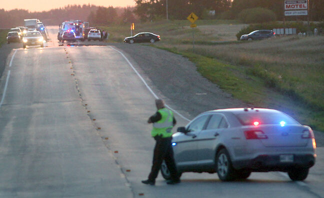A Brandon Police Service officer blocked westbound traffic from a section of Highway 1A outside Brandon on Monday night following a fatal collision between an SUV and a cyclist. Firefighter/paramedics attended, and the male cyclist was taken to hospital but later died.
