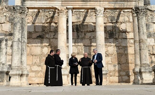 Prime Minister Stephen Harper and Laureen Harper are given a tour of the synagogue by the franciscan monks at Capernaum, Israel on Wednesday, January 22, 2014. THE CANADIAN PRESS/Sean Kilpatrick
