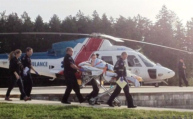 A shooting victim is taken to Vancouver General Hospital after a multiple shooting at a Nanaimo lumber mill, Wednesday April 30, 2014. THE CANADIAN PRESS/Twitter, Cathy O'Connor