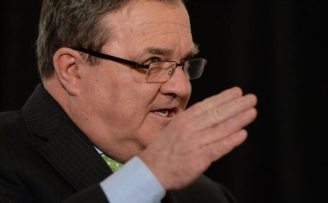 Minister of Finance Jim Flaherty speaks at a post-budget event in Ottawa on Wednesday, February 12, 2014. THE CANADIAN PRESS/Fred Chartrand