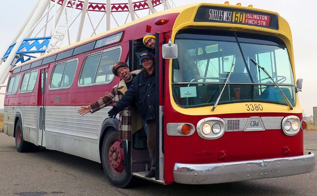 Jason Shron, Dan Darnell and Jordan Smith, who are driving a classic GM New Look bus through three provinces, stop in Brandon on Wednesday. They painted it to look like the former transit buses gracing Toronto's streets.