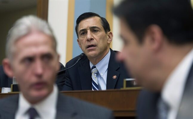 House Judiciary Committee member Rep. Darrell Issa, R-Calif., questions Deputy Attorney General James Cole on Capitol Hill in Washington, Tuesday, Feb. 4, 2014, during the committee's hearing on Examining Recommendations to Reform FISA Authorities. (AP Photo/Cliff Owen)