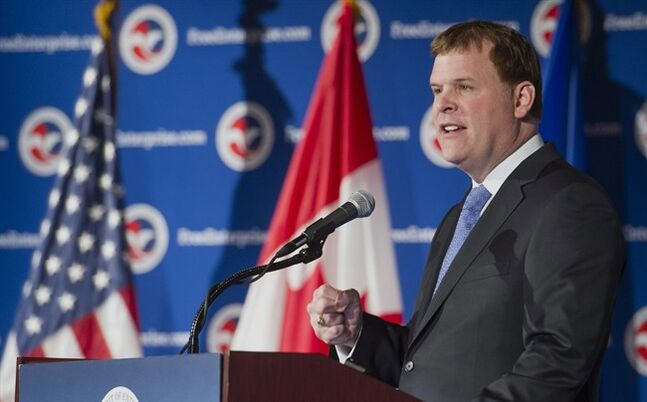 Canadian Foreign Affairs Minister John Baird speaks at a U.S. Chamber of Commerce, Jan. 16, 2014. THE CANADIAN PRESS/AP, Cliff Owen