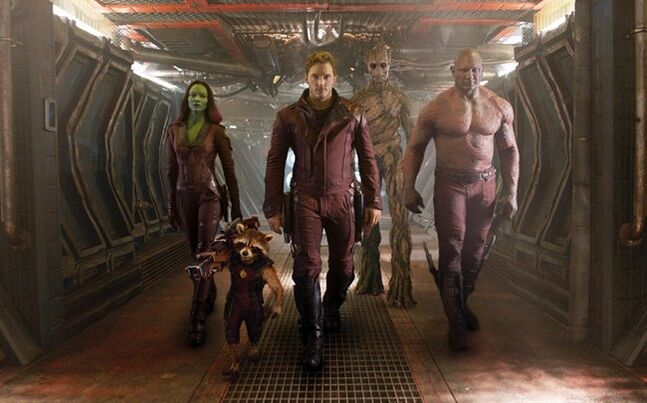 FILE - This undated image released by Disney - Marvel shows, from left, Zoe Saldana, the character Rocket Racoon, voiced by Bradley Cooper, Chris Pratt, the character Groot, voiced by Vin Diesel and Dave Bautista in a scene from