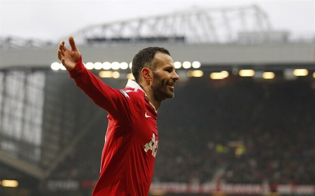 Manchester United's Ryan Giggs celebrates after scoring Jan. 22, 2011 in Manchester, England. THE CANADIAN PRESS/AP, Jon Super