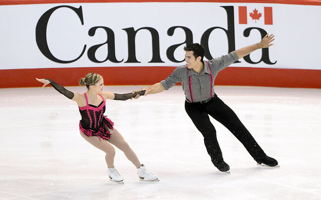 Virden residents Paige Lawrence (left) and Rudi Swiegers skate at the Canadian championships in Ottawa.