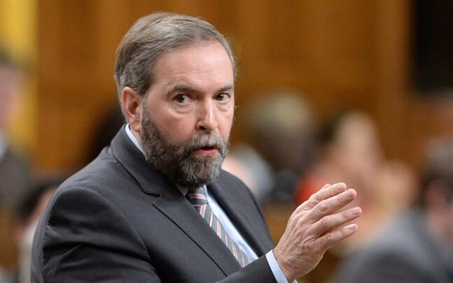 NDP leader Thomas Mulcair asks a question during question period in the House of Commons on Parliament Hill in Ottawa on Wednesday, February 26, 2014. THE CANADIAN PRESS/Sean Kilpatrick